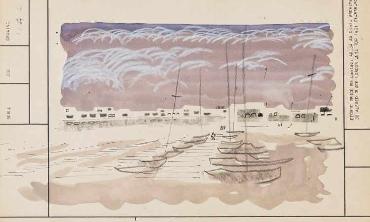 Cedric Price, 'Two Tree Island', c.1972. Scenic postcard of the designed landscape. It is annotated: 'Looking (west) towards harbour from edge of enlarged saltings'. Graphite, crayon, ink, and watercolour on cardboard. © Cedric Price fonds, Collection Canadian Centre for Architecture, Montréal.